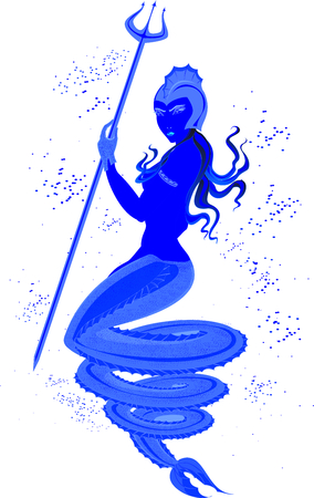 sea nymph: Mermaid with Trident in underwater world.