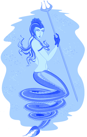 magus: Fabulous mermaid in an underwater world with Trident. Illustration