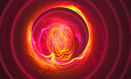 aura sun: Another supernova near foreground as the storming of the red ball of fire abstraction based on fractal graphics. Fractal art graphics Stock Photo