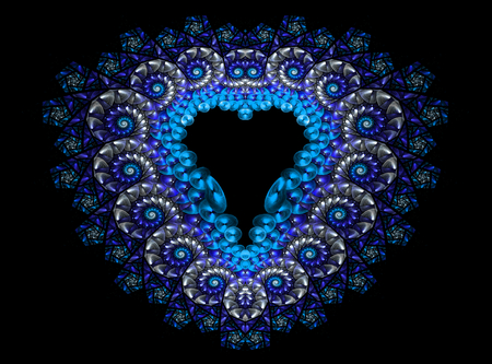 heartshaped: Symbolic diamond heart-shaped blue heart that symbolizes love. Fractal art graphics.