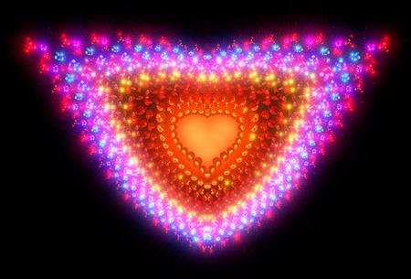 heartshaped: Symbolic diamond heart-shaped red heart that symbolizes love. Fractal art graphics.