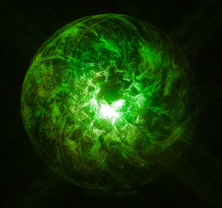 emanation: Magic ball burning green flame. Fractal art graphics. Stock Photo