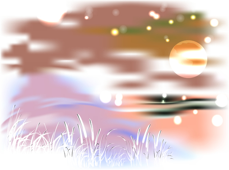 Bright landscape with lake and reeds in the light of the moon. EPS10 vector illustration