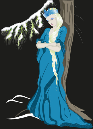snow queen: The Snow Queen with a crown. EPS10 vector illustration. Illustration