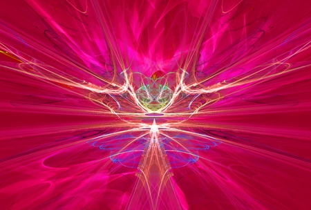 Mysterious alien form magnetic fields in the red sky. Fractal art graphics.