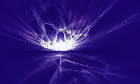 bolid: Mysterious alien form magnetic fields in the sky. Fractal art graphics.