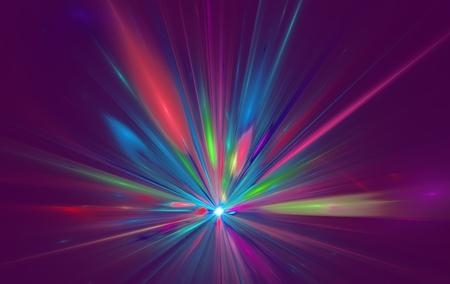 Shining a fantastic radial blast color tint. Fractal art graphics.