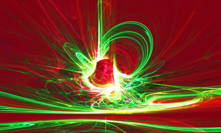Mysterious alien form magnetic fields in the mysterious night sky. Fractal art graphics.