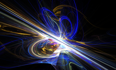 slantwise: Shining a fantastic line in a furious movement go beyond the horizon. Fractal art graphics. Stock Photo