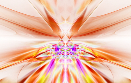 bolid: Shining a fantastic red line in a furious motion symmetrically go beyond the horizon. Fractal art graphics.