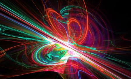 slantwise: Brillante una linea rossa fantastico in un movimento furioso andare oltre l'orizzonte. Art Frattali.