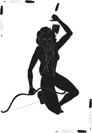 Huntress holding a bow and arrow.