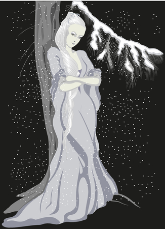 snow maiden: Girl and Christmas tree in the forest.