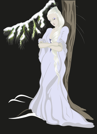 snow queen: The Snow Queen standing near the tree.