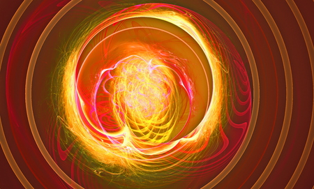 supernova: Another supernova near foreground as the storming of the red ball of fire abstraction based on fractal graphics.