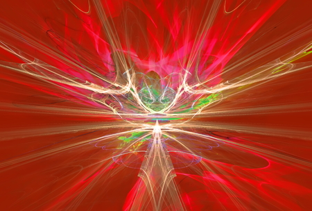 bolid: Mysterious alien form magnetic fields in the red sky. Fractal art graphics.