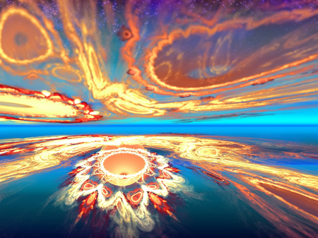 Mysterious alien sunset view in the mysterious world inhabited. Fractal art graphics. photo