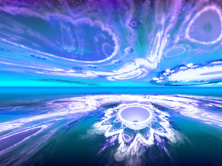 the other world: Shining fantastic horizon to the other world. Fractal art graphics.