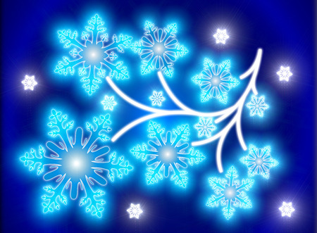 limb: Hexagonal snowflakes elements as tree. Limb closeup in blue space Stock Photo