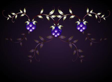 blackberries: Pattern of blackberries on a purple base.  vector illustration. Illustration