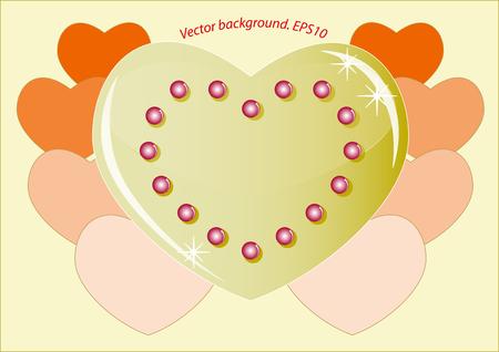 golden heart: Romantic golden heart which symbolizes the love.   Illustration