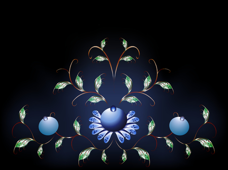 black and blue: Wavy pattern of  blue flowers on a black blue base.  Illustration