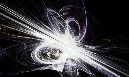 slantwise: Splendente una linea bianca fantastica in un movimento furioso andare oltre l'orizzonte. Art frattale.