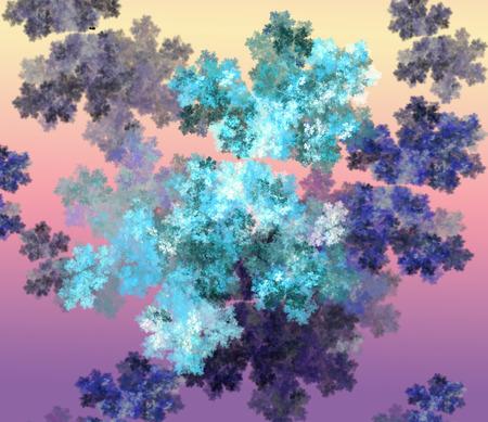 frost: Snowflake double frozen frost . Fractal art graphics.