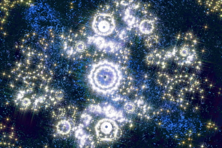 Starry sky translucent milky way nebula and wonderful patterns of star clusters. Fractal art graphics. Stock Photo