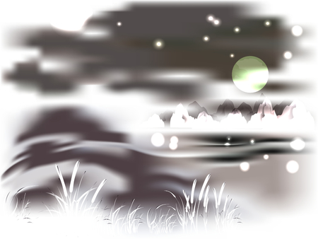 moonlit: Mountains and lake on a moonlit night.  Illustration