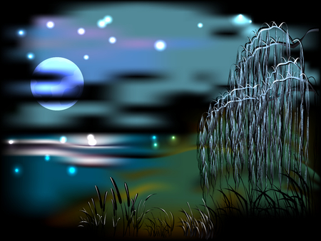 bulrush: Night landscape with lake and reeds in the light of the moon.  Illustration