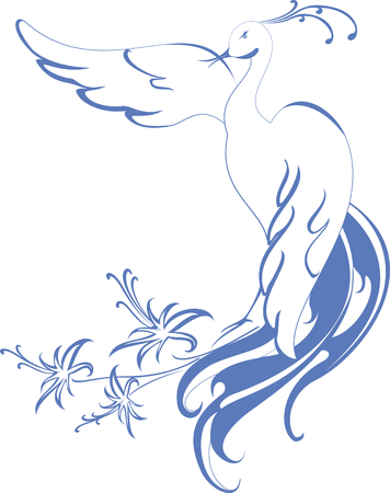 birds of paradise: Pattern. bird of Paradise with flowers. Illustration
