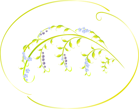 blue berry: Pattern in the form of berry and blue flower branch.