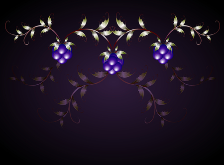 blackberries: Pattern of blackberries on a purple base. EPS10 vector illustration.