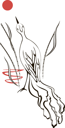 sedge: Black and white bird is looking at the moon at sunset. EPS10 vector illustration. Illustration