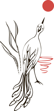 white bird: Black and white bird is looking at the moon at sunset.  EPS10 vector illustration.