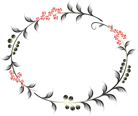 Frame in the shape of an ellipse of berries and red flowers. EPS10 vector illustration.