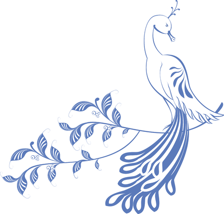 migrate: Pattern. Peacock sitting on a branch. EPS10 vector illustration.