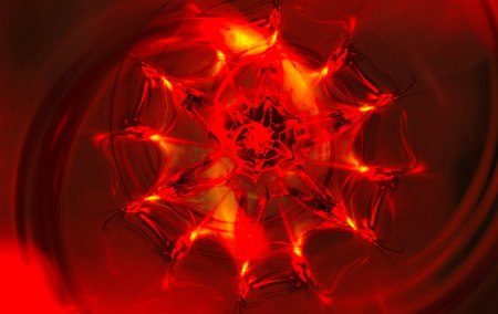 fire flower: Abstract red blurred scene depicting an fire flower. Fractal art graphics. Stock Photo