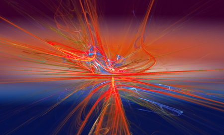 slopes: Shining a fantastic red line in a furious movement go beyond the horizon. Fractal art graphics. Stock Photo