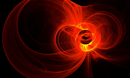 Abstract figure from round,red waves and plasma. Fractal art graphics.