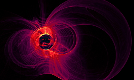 gossamer: Abstract figure from round,  waves and plasma. Fractal art graphics.