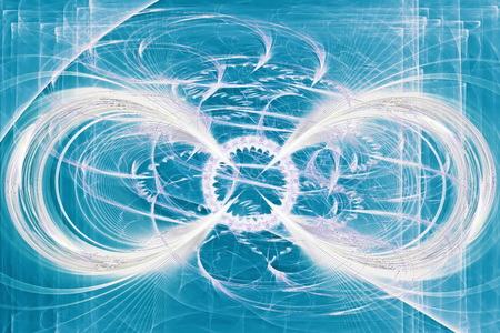 disorderly: Abstract flower swirls in blue space.Fractal art graphics.
