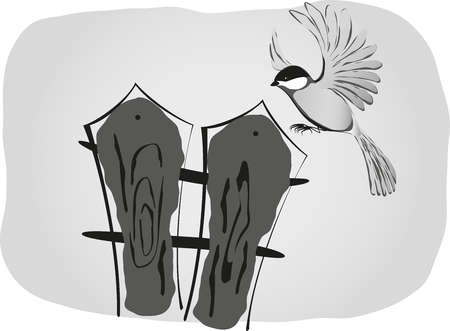 migrate: Black and white drawing, bird sits on the fence.