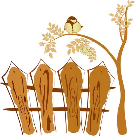 rowan tree: Autumn drawing, bird sitting on a tree Rowan. EPS10 vector illustration.