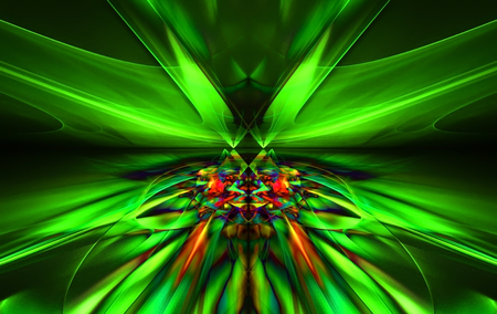 bolid: Shining a fantastic green line in a furious motion symmetrically go beyond the horizon. Fractal art graphics