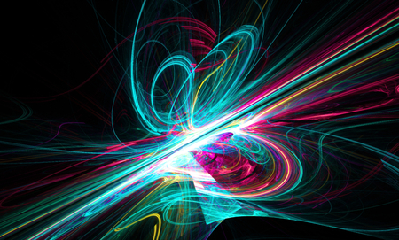 slantwise: Shining a fantastic blue line in a furious movement go beyond the horizon. Fractal art graphics. Stock Photo