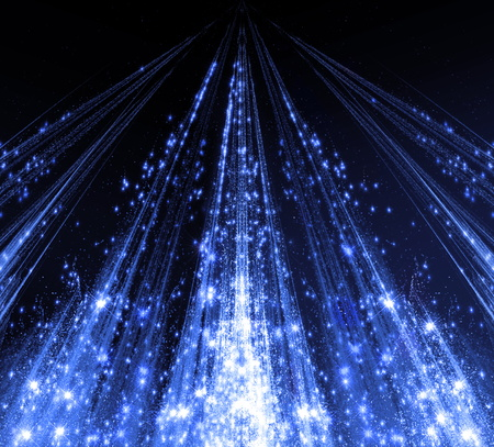 defocussed: Abstraction with laser beams and flare sparks and the stars are shining in the darkness, blue monochrome light descends in the form . abstraction-based fractal graphics.