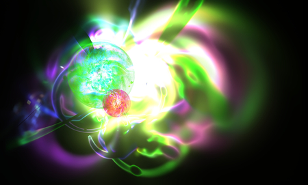 supernova: Abstract blurred scene depicting an astronomical nebula magnetic storm on unstable mystic supernova. Fractal art graphics. Stock Photo