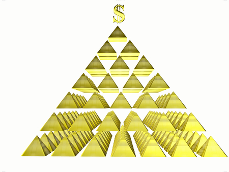 deceptive: Alluring deceptive isolated pyramids topped by a golden dollar. Symbols